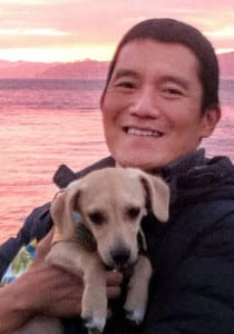 George Kao with Buddy at Sunset -- cropped