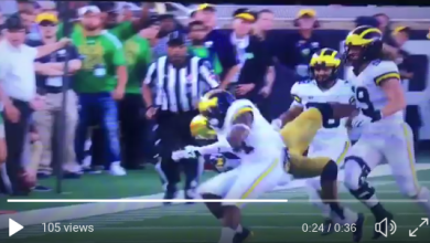 Photo of Michigan's Josh Retellus Ejected For Huge Hit On Opponents Helmet [VIDEO]