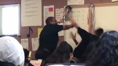 Photo of Watch: Teacher Lands First Punch On Cocky Student