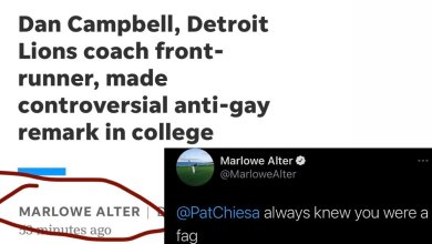 Photo of Your Hypocrisy is Showing: Marlowe Alter, Detroit Free Press Author Who Wrote Article About Dan Campbell Saying He Made Homophobic Remark in Past, Had Many Tweets With Slurs in Them