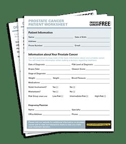 Prostate Cancer Patient Work Sheet