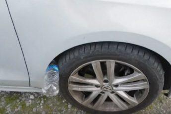 Если пластиковая бутылка лежит на колесе вашей машины - вы в серьезной опасности!
