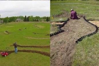 Вот уже полгода он копает свое поле. Соседи уже начали думать, что он сошел с ума, но когда он закончил, все были в шоке!