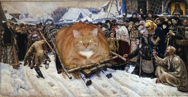 25 известнейших картин, на которых неожиданно появился котик