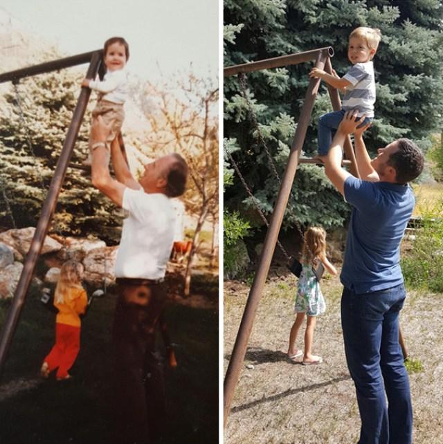 Внуки решили воссоздать фотографии своих бабушек и дедушек. Получилось очень трогательно.