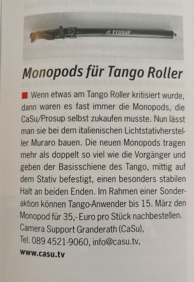 Monopod for tango roller by prosup professional camera support