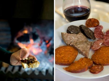 Comer al lado del fuego, embutidos artesanos