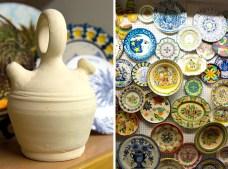 Botijo tradicional y exposición de platos decorados