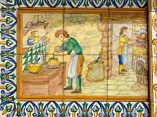 Detalle de azulejos en mosaico