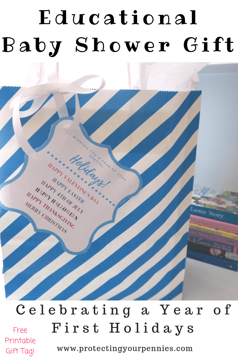 Educational Baby Shower Gift With Free Printable Gift Tag - A unique holiday inspired gift for New Baby and Mom