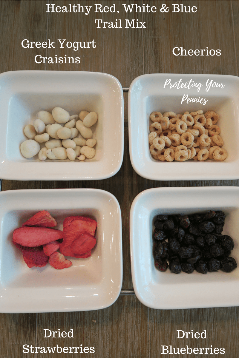 Red White and Blue Toddler Trail Mix Ingredient List