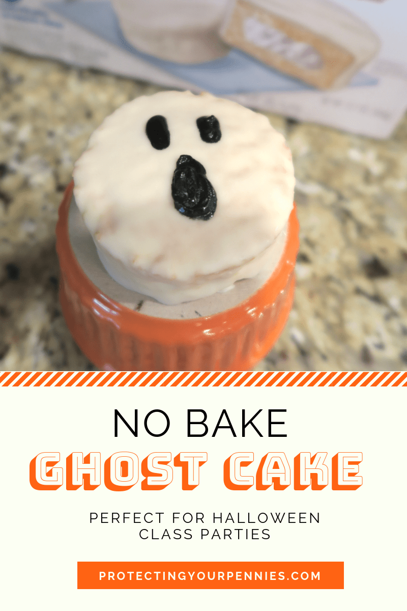 No Bake Halloween Snack Cake Ghost