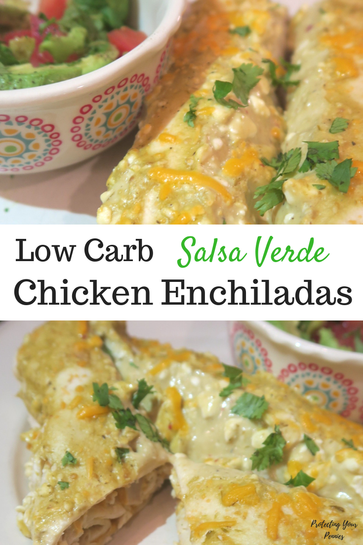Low Carb Salsa Verde Chicken Enchiladas