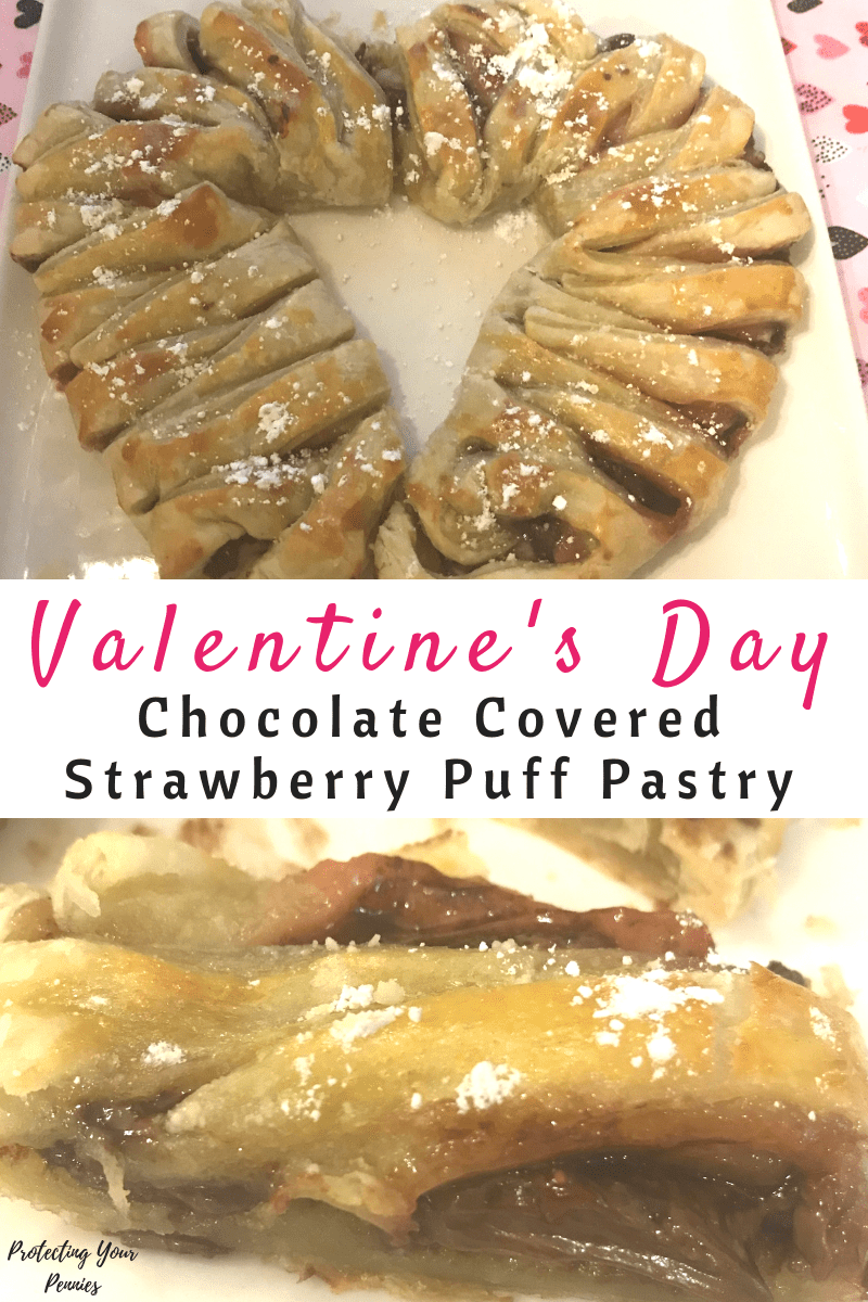 Valentine's Day Chocolate Covered Strawberry Puff Pastry