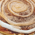 Cinnamon Roll Pancake with cream cheese and cinnamon sugar