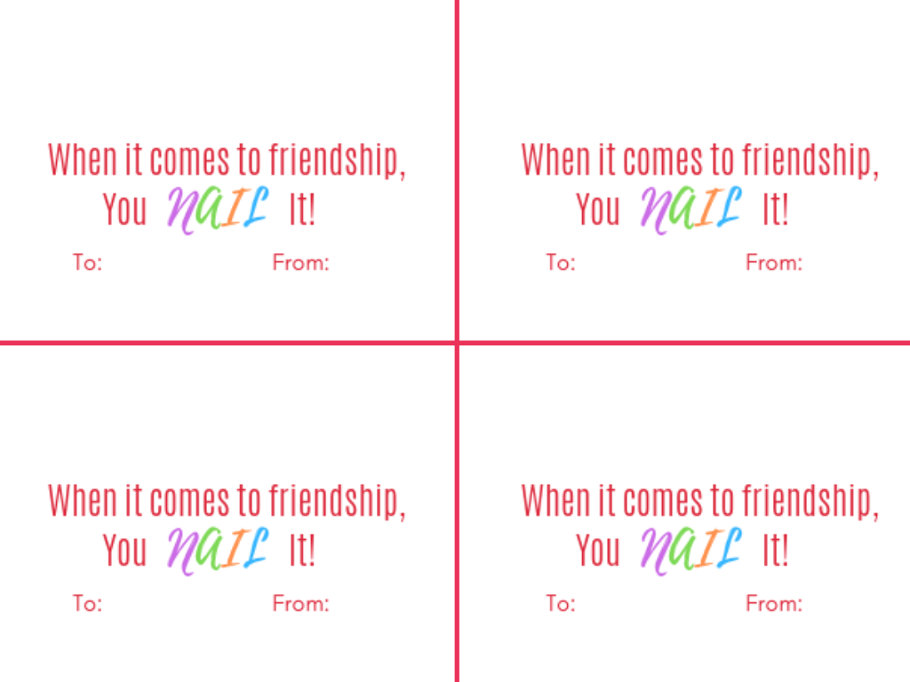 Girls Friendship You Nail it Nail Polish Valentine Card for Kids Free Printable - 2