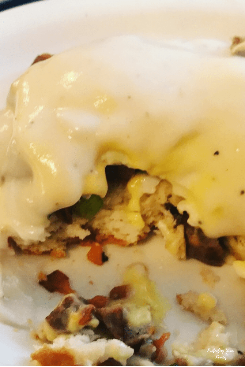 Gravy Benedict with White Gravy and Hollandaise Sauce