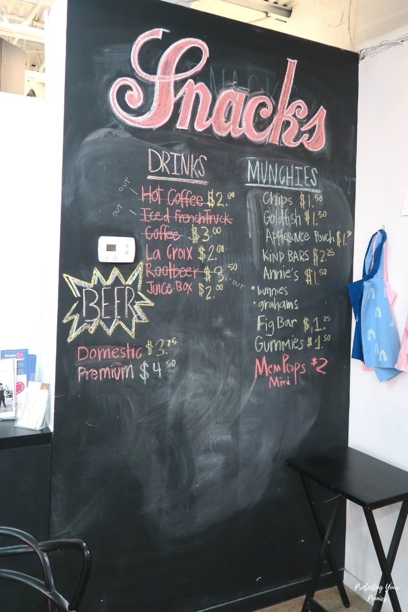 Snack Menu at The Art Project in Memphis, TN