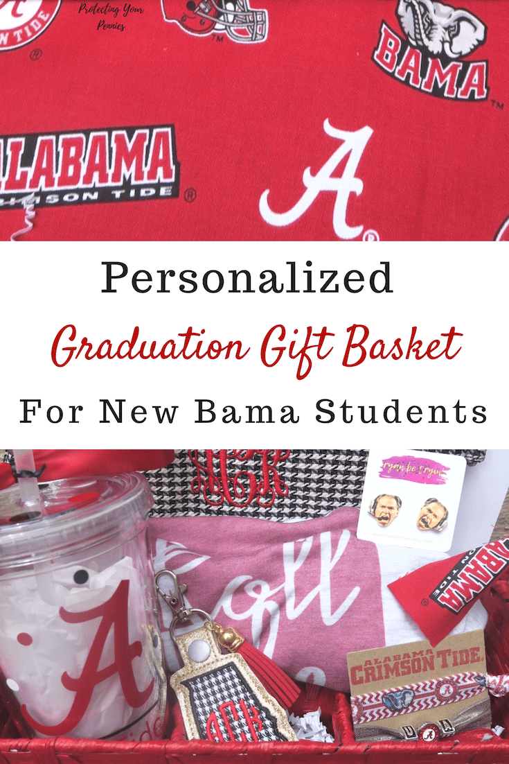 Personalized Graduation Gift Basket for the University of Alabama Freshmen after high school. Custom and Unique gifts to make a memorable present.