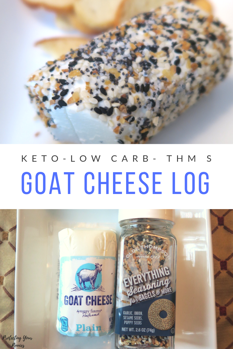 Everything Bagel Goat Cheese Log - Easy Appetizer for Low Carb - Trim Healthy Mama and Keto