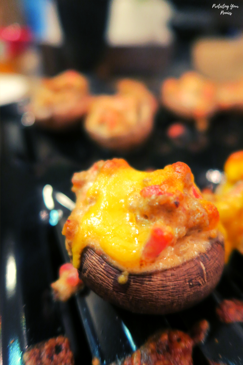 Baked Stuffed Mushrooms with Cheesey Cream Cheese Sausage Rotel Dip