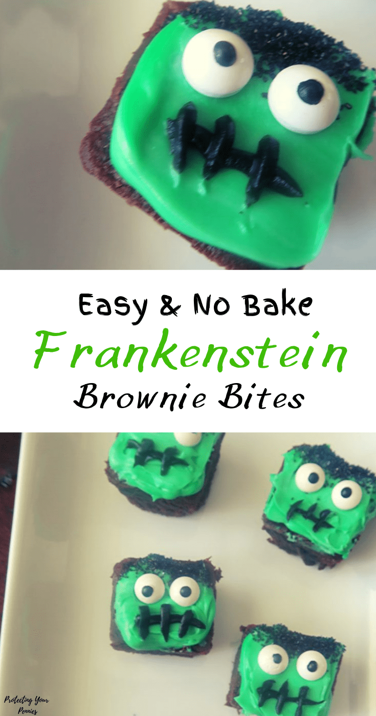 Easy & No Bake Frakenstein Brownie Bites for Halloween