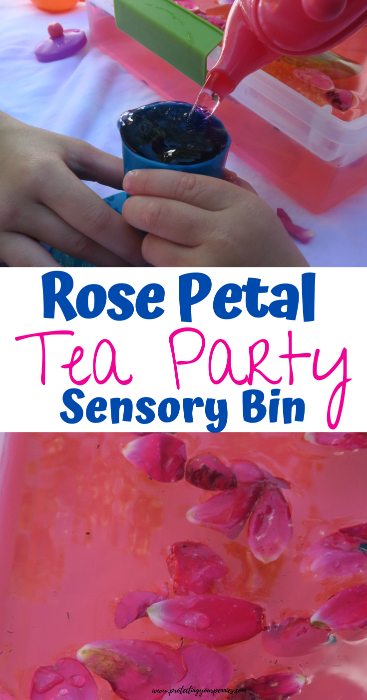 Rose Petal Tea Party Sensory Bin for Toddlers and Princesses