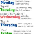 Weekly Summer Schedule for Kids