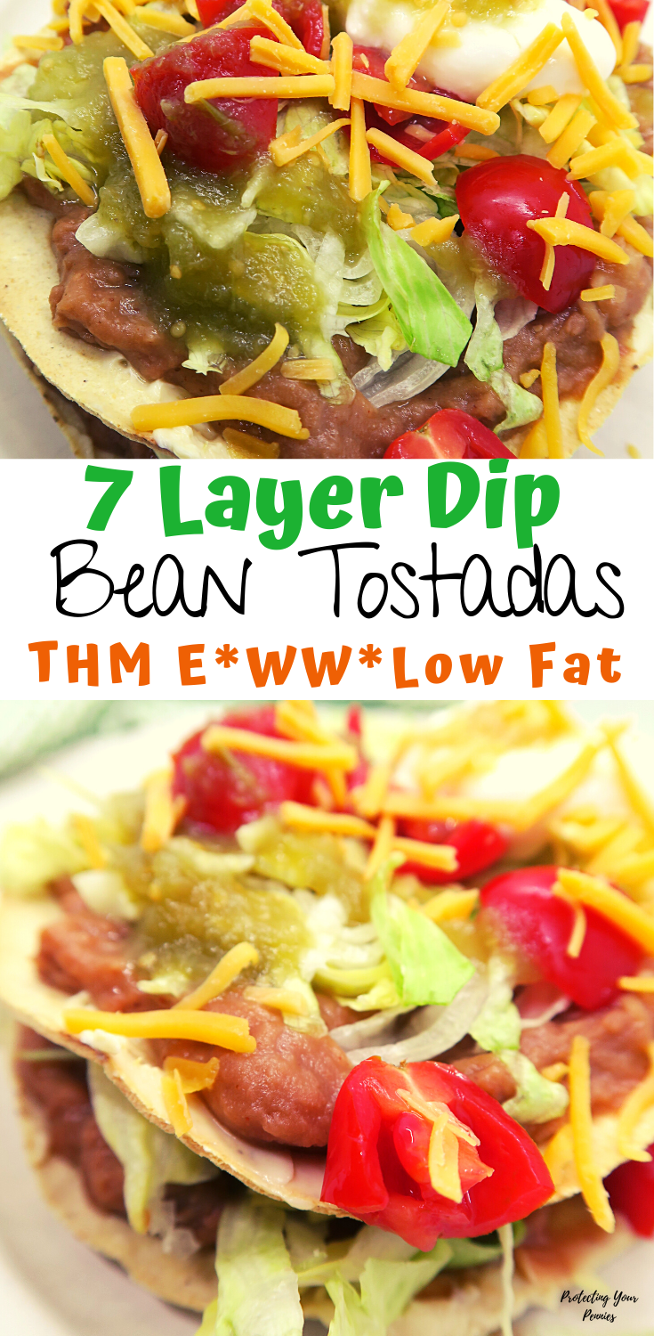 7 Layer Taco Dip Bean Tostadas - THM E Low Fat WW Recipe