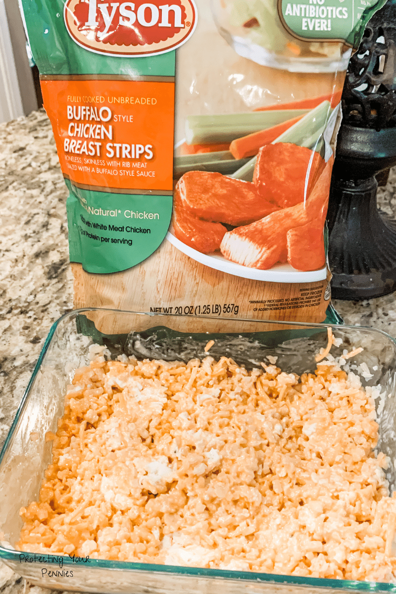 Buffalo Cauli Rice Casserole Prepped