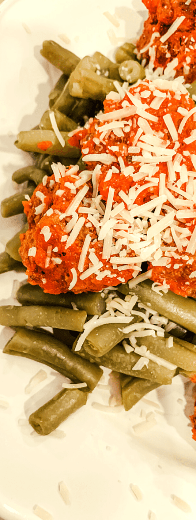 Meatballs over Green Beans