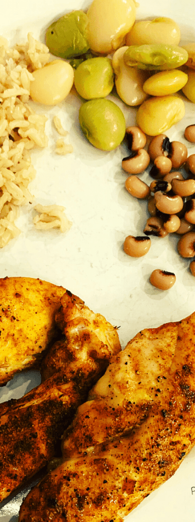 Chicken Tenders lima beans black eyed peas and brown rice