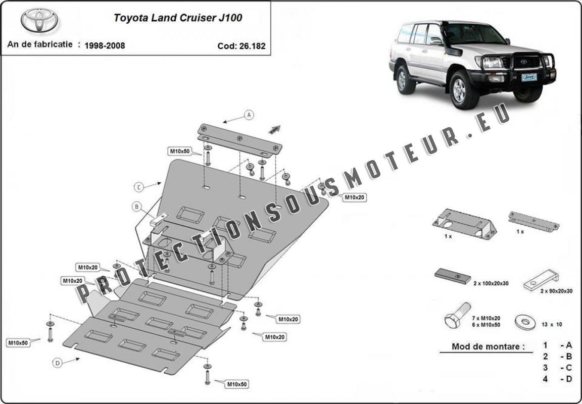 Protection sous moteur et de la radiateur Toyota Land