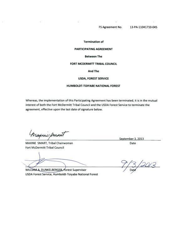 PM Protect Mustangs CAES McDermitt Participating Agreement Termination September 3 2013