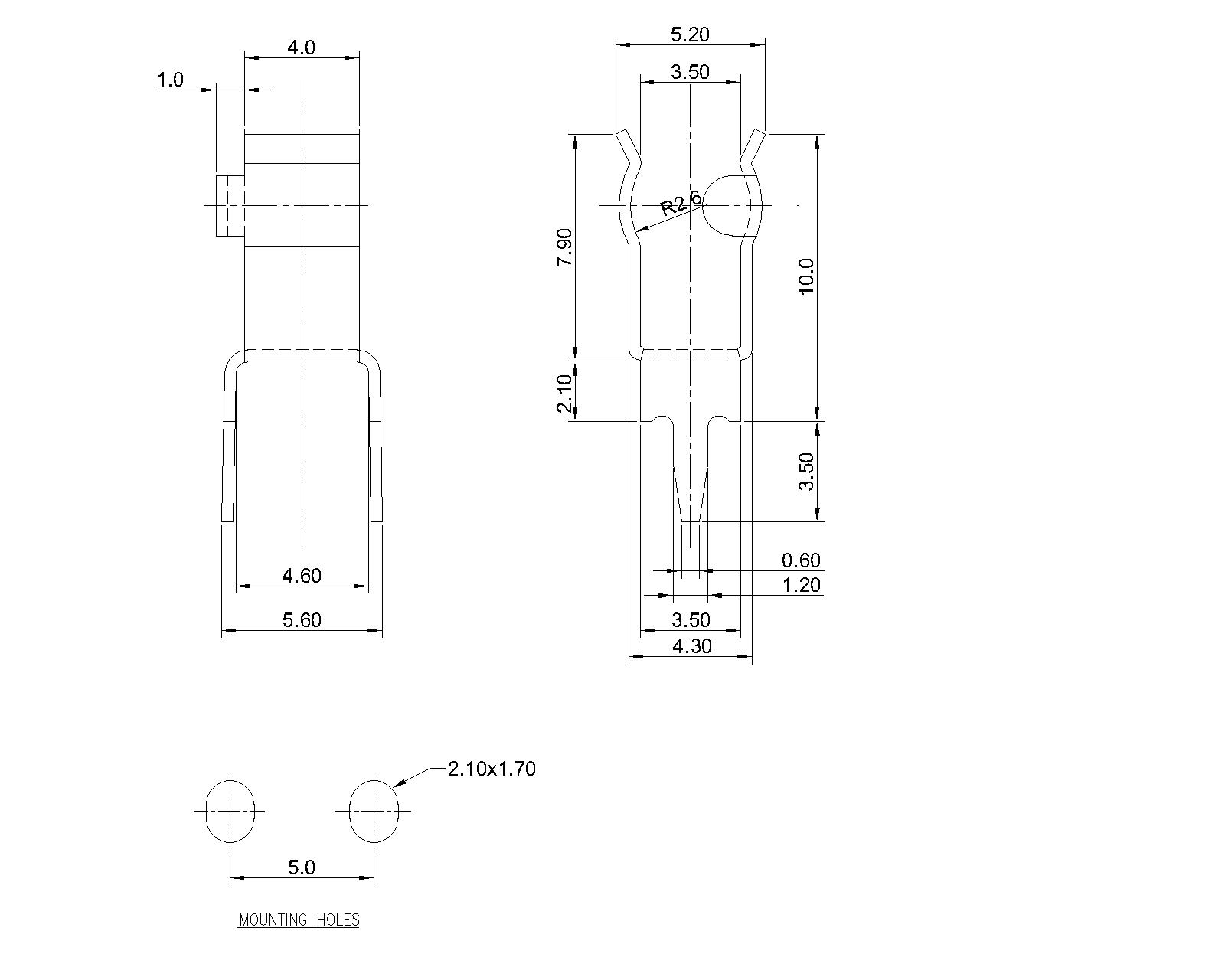 P 10 29 Pcb Mount Clips For 5 2mm Fuse