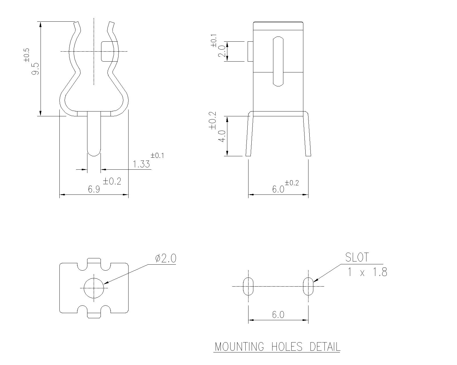 P 02 Pcb Mount Clips For 6 35mm Fuses