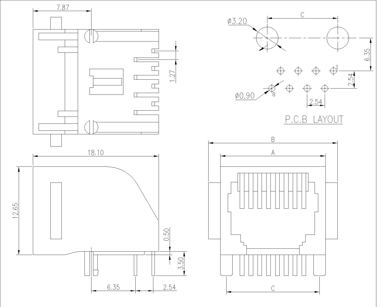 rj45 modular jack wiring diagram volvo diagrams s60 side entry low profile with flange