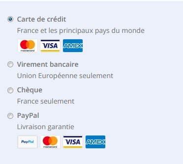 Nous acceptons toutes les cartes de crédit