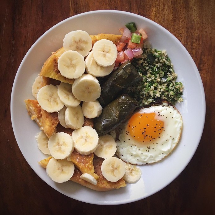 French Toast with Almond Butter, and Bananas, Dolmas (Grape Leaves), Tabouleh Salad, Pico de Gallo, and a Fried Egg for Breakfast
