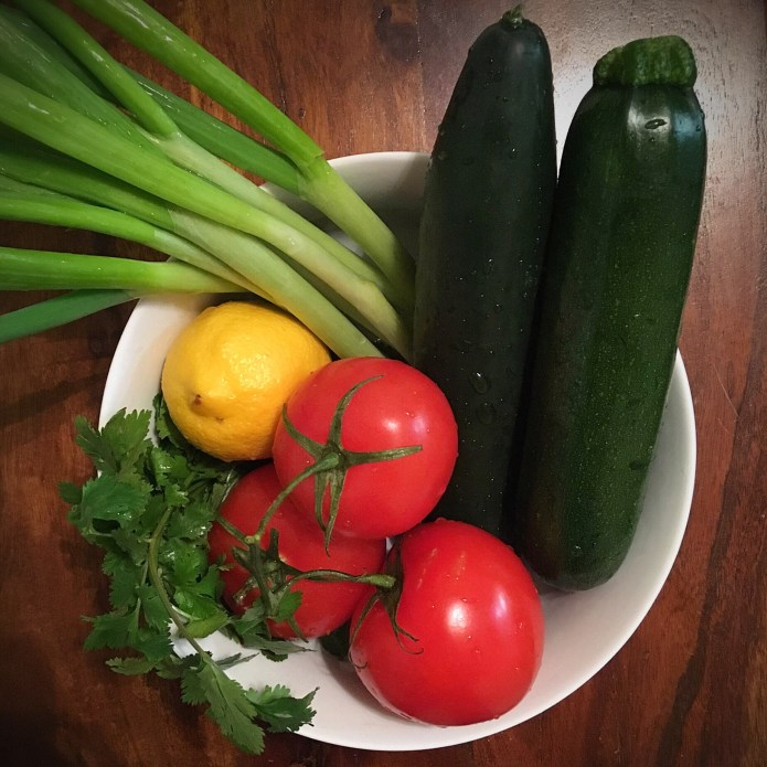 Bowl of Fruits, Veggies, and Herbs: Cucumber, Zucchini, Tomatoes, Lemon, Green Onion, Cilantro