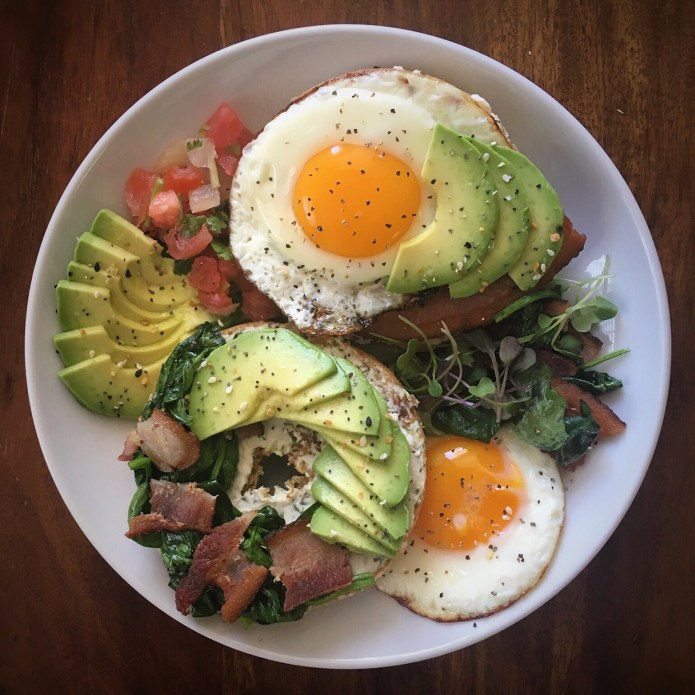 Bagel, Egg, Bacon, Avocado, Microgreens, Pico de Gallo, with Vegan Cream Cheese