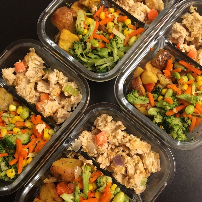 Meal Prep with Turkey Meatloaf, 'Taters (Potatoes), and Lots of Veggies: Broccoli, Carrots, Corn and Edamame