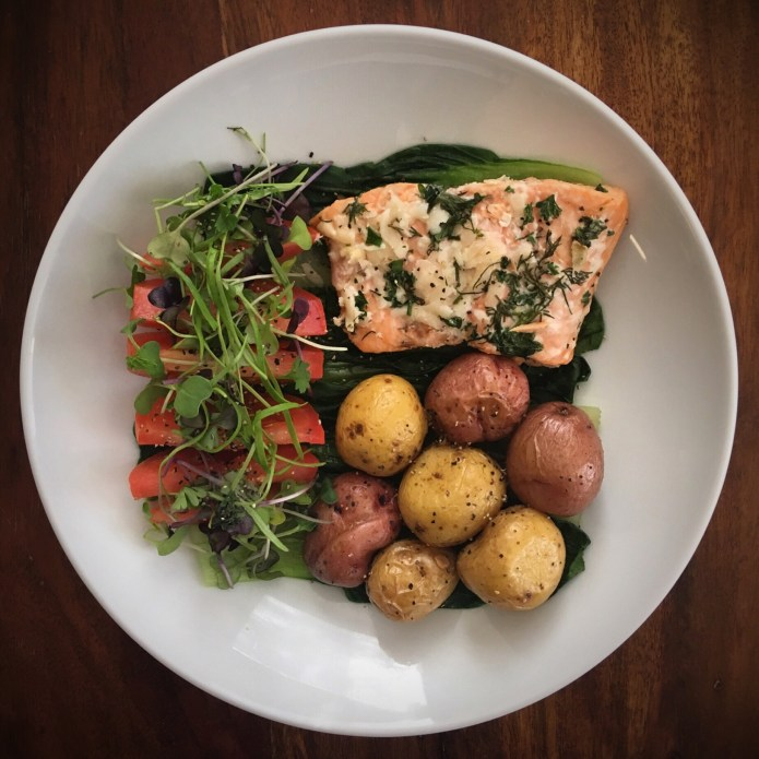 What's On My Plate: Salmon, Potatoes, Tomatoes, Microgreens, and Bok Choy
