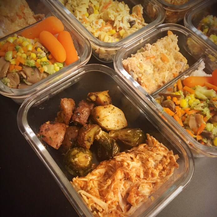 3 Meal Preps: Chicken in BBQ Sauce with Brussels Sprouts and Roasted Potatoes; Turkey Meatloaf with Rice, Carrots, Broccoli, Mushrooms, Corn and Edamame; Chickpea Rotini Pasta in Alfredo Sauce, with Chicken, Mushrooms, and Veggies