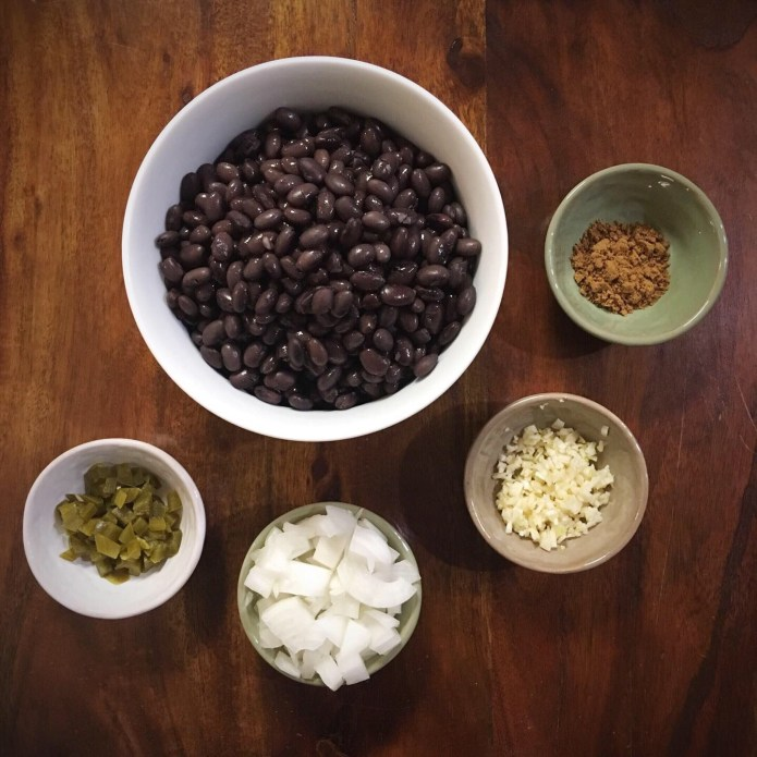 Black Bean Mise En Place with Jalapeño Peppers, Onions, Garlic, and Cumin