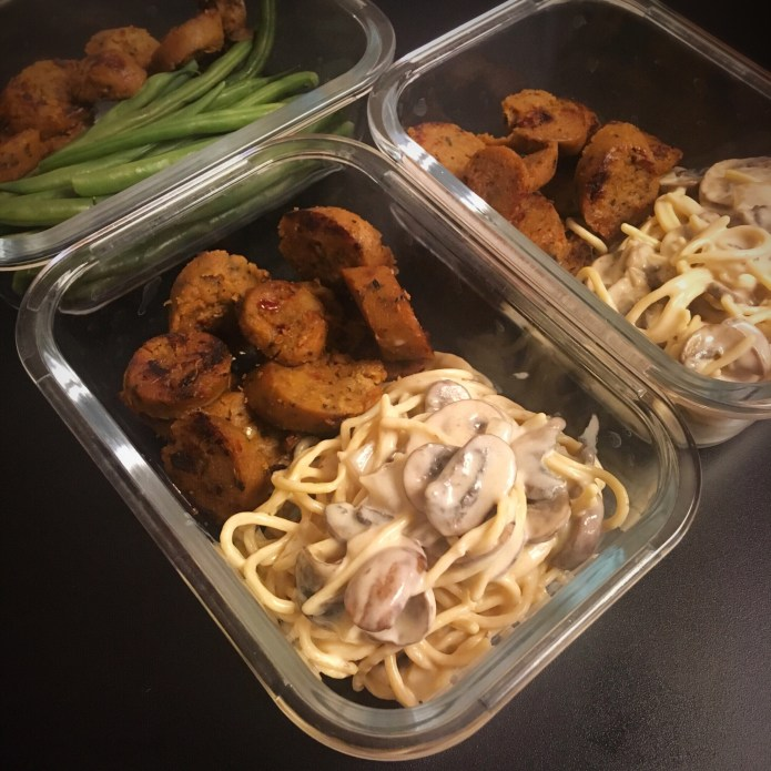 Chickpea Spaghetti Alfredo with Mushrooms, and a Vegan Sausage Meal Prep; side of French Green Beans
