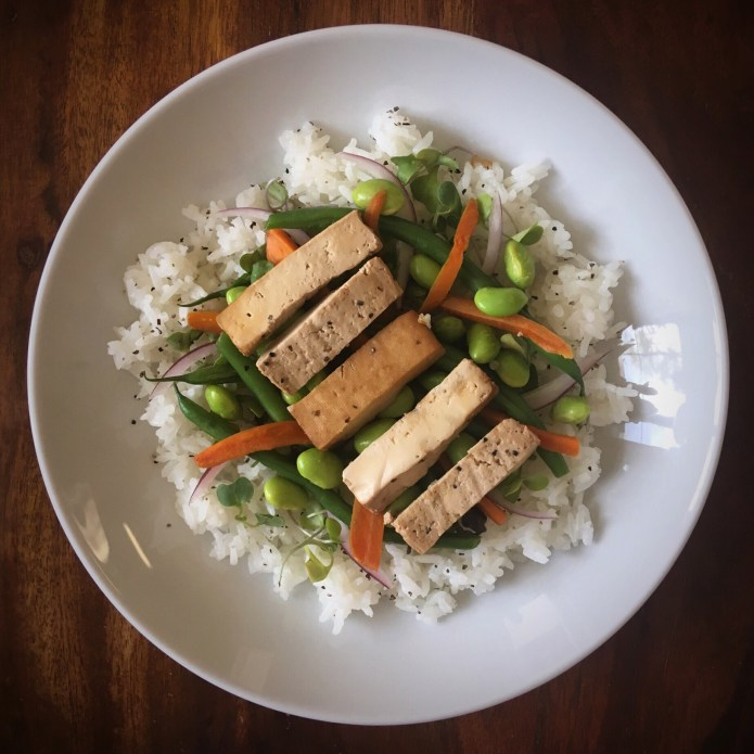 Tofu Veggie Rice with Soybeans, Green Beans, Carrots, Onions, and Microgreens