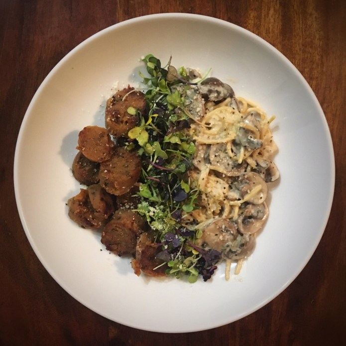 Vegan Sausage and Pasta, with Mushrooms, Microgreens, Parmesan, and Pepper