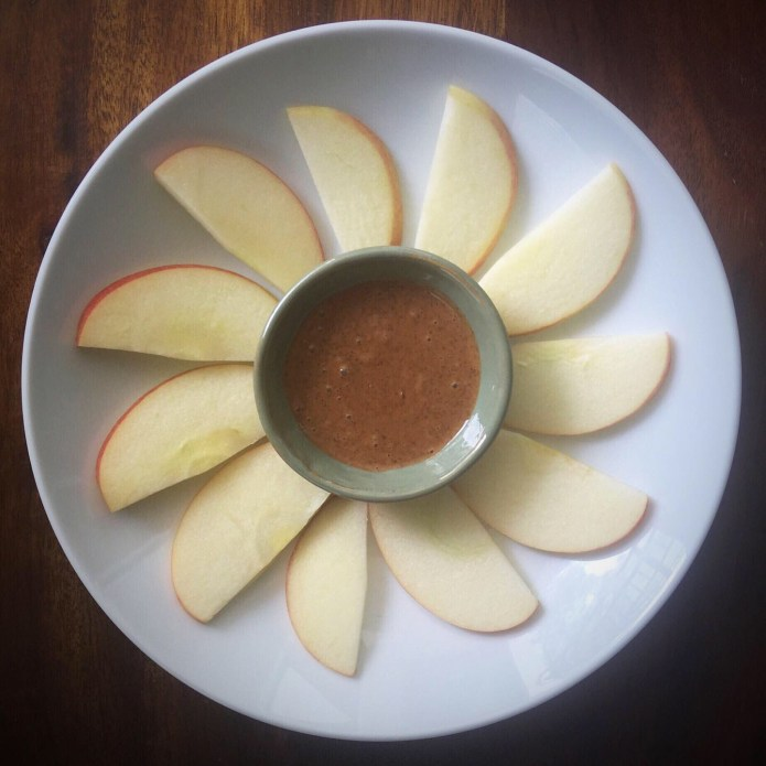 Sliced Apple with Almond Butter Flower