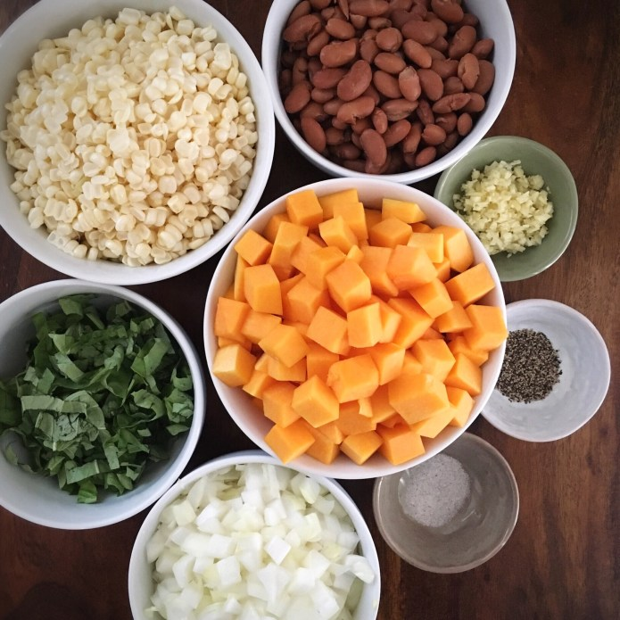 Butternut Squash Mise En Place, with Pinto Beans Corn, Onions, Basil, Garlic, Salt, and Pepper